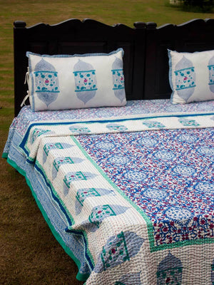 Gul Jaal Kantha Cotton Gudri; Double Layered Bed Cover - Pinklay