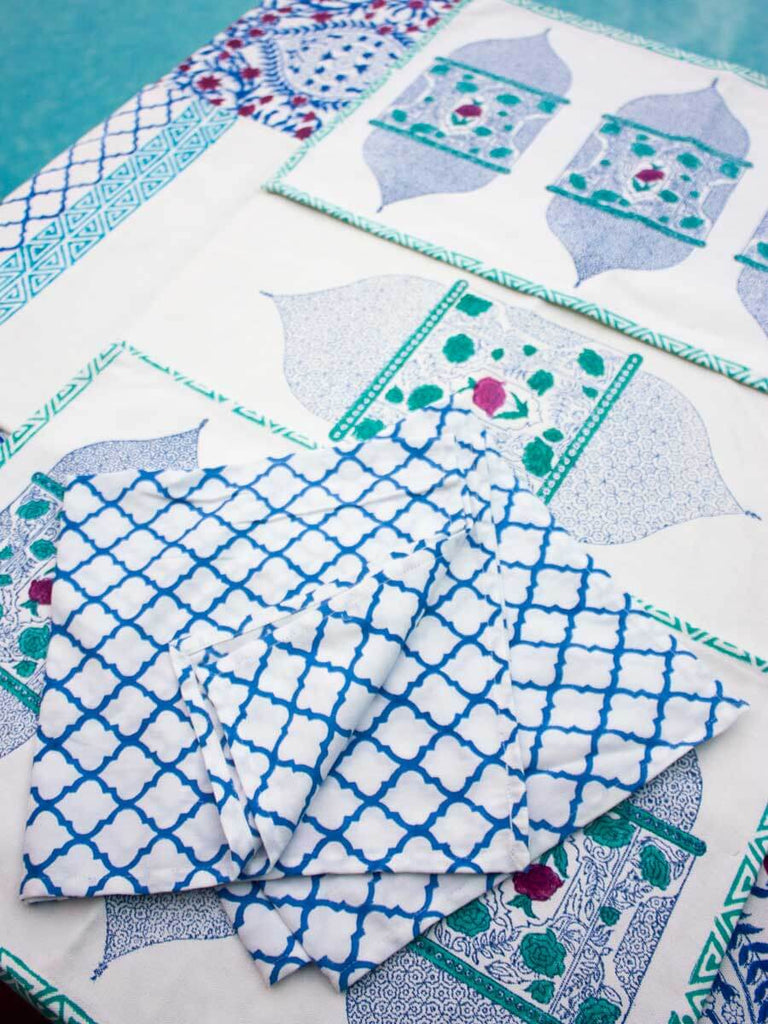 Gul Jaal Hand Block Print Cotton Table Napkins - Set of 6