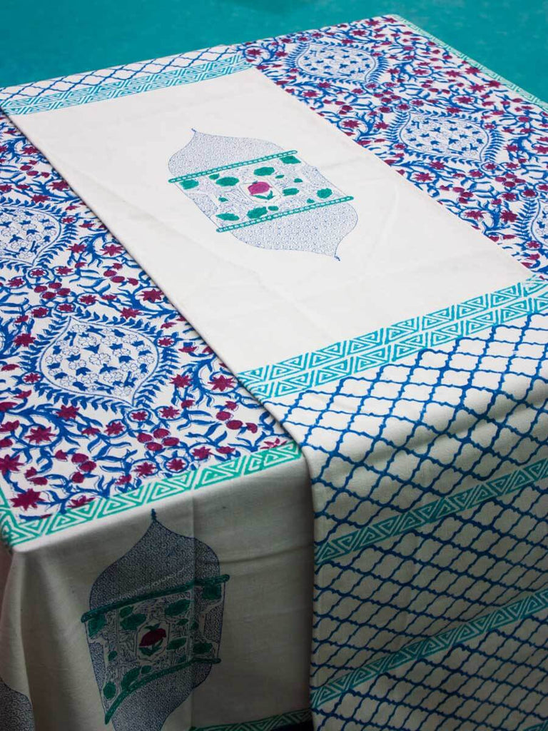 Gul Hand Block Print Cotton Table Runner