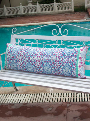 Gul Hand Block Print Cotton Cushion Cover - 16 X 48 Inch - Pinklay