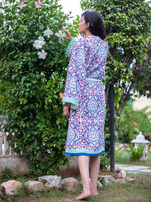 Gul Hand Block Print Cotton Bath Robe