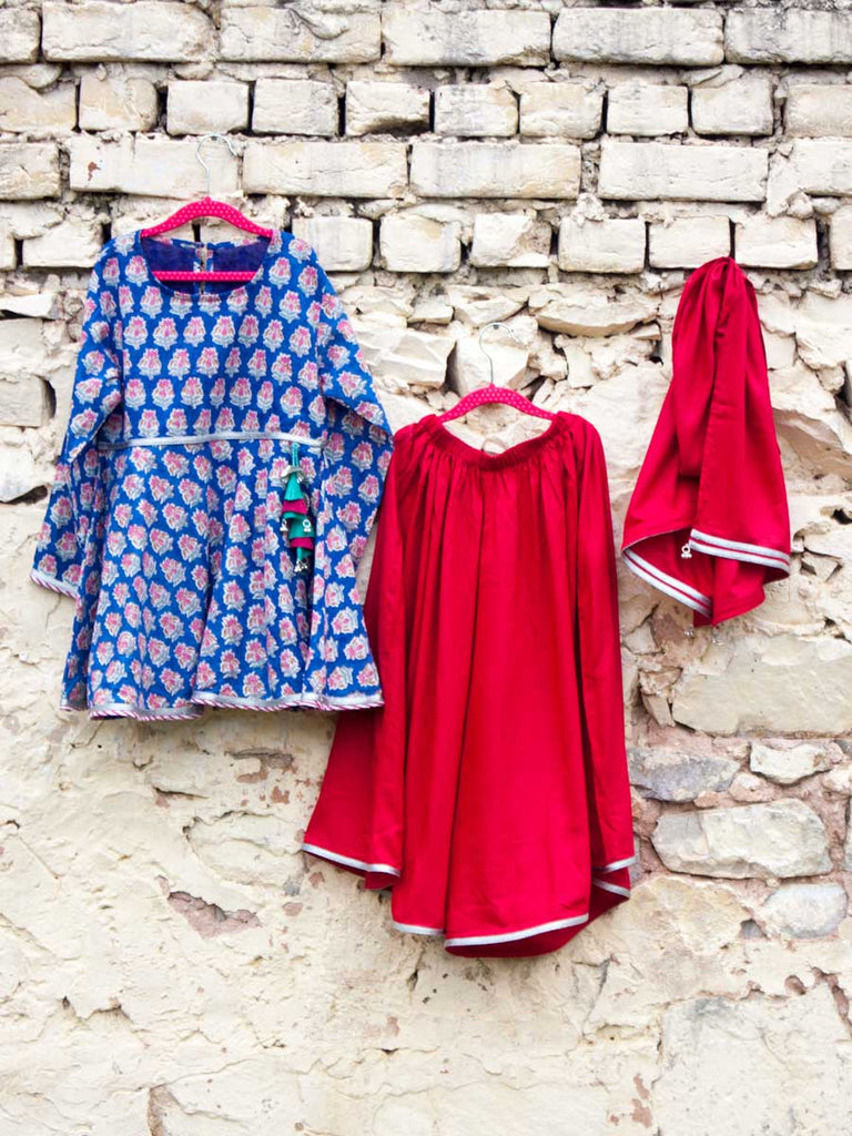 Gul Organic Cotton Sharara Dress Set of 3 - Pinklay