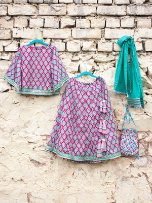 Gulaabi Cotton Silk Lehanga Set of 4 - Pinklay