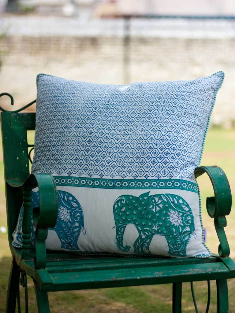 Haathi Hand Block Print Cotton Cushion Cover - 24 Inch - Pinklay