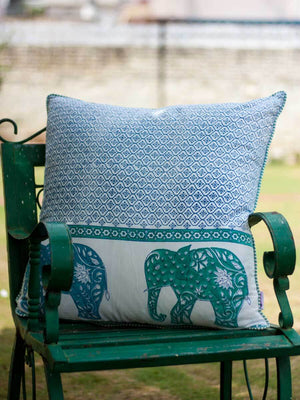 Haathi Hand Block Print Cotton Cushion Cover - 24 Inch