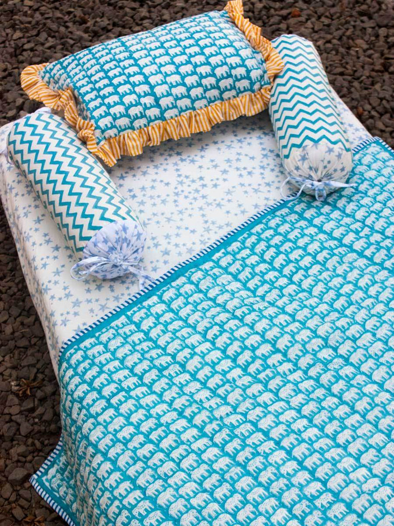 Mera Pyaara Haathi GOTS Certified Organic Cotton Cot Bedding Set of 5 - Pinklay
