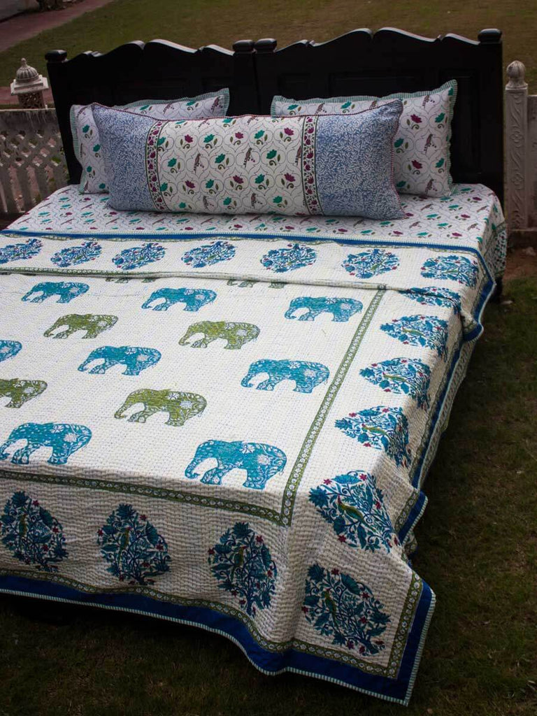 Haathi Kantha Cotton Gudri; Double Layered Bed Cover - Pinklay