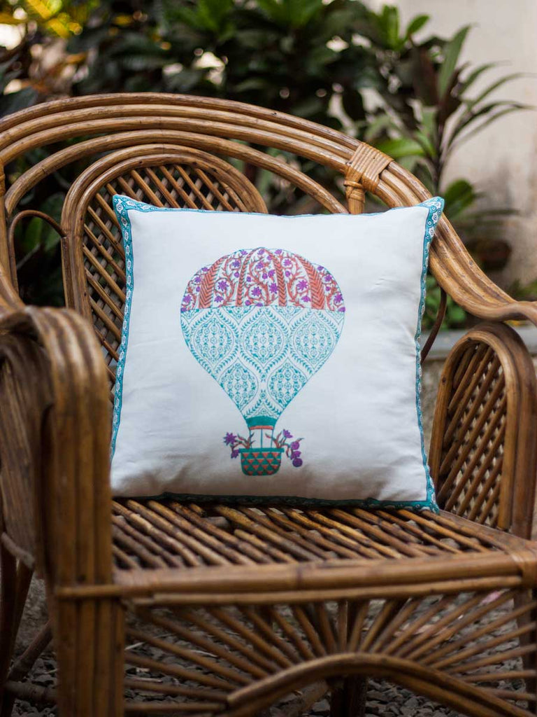Balloons Hand Block Print Cotton Cushion Cover - 16 Inch - Pinklay