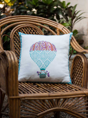 Balloons Hand Block Print Cotton Cushion Cover - 16 Inch