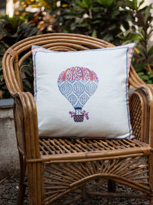 Balloon Hand Block Print Cotton Cushion Cover - 20 Inch - Pinklay