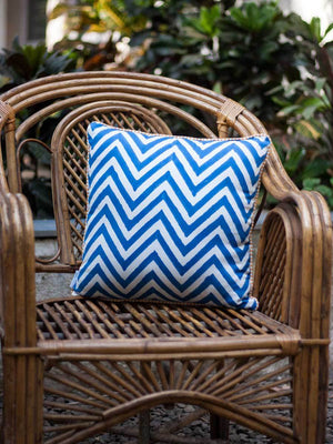 Chevrons Hand Block Print Cotton Cushion Cover - 16 Inch - Pinklay