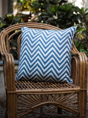 Chevrons Hand Block Print Cotton Cushion Cover - 20 Inch - Pinklay