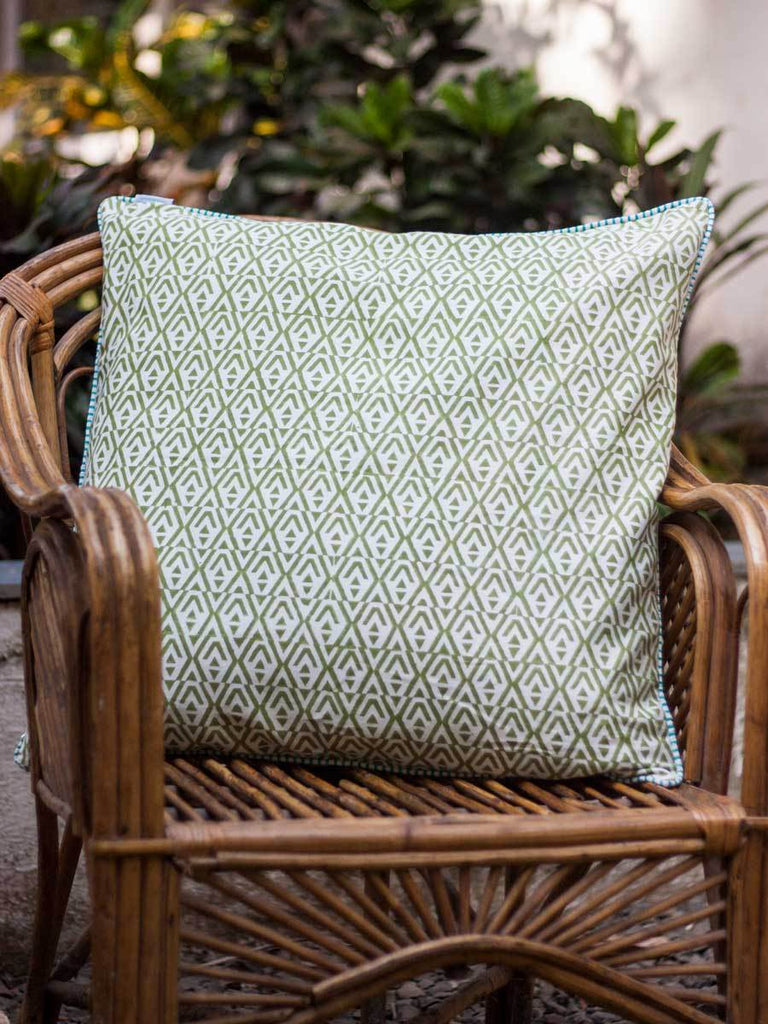 Chevron Hand Block Print Cotton Cushion Cover - 24 Inch - Pinklay