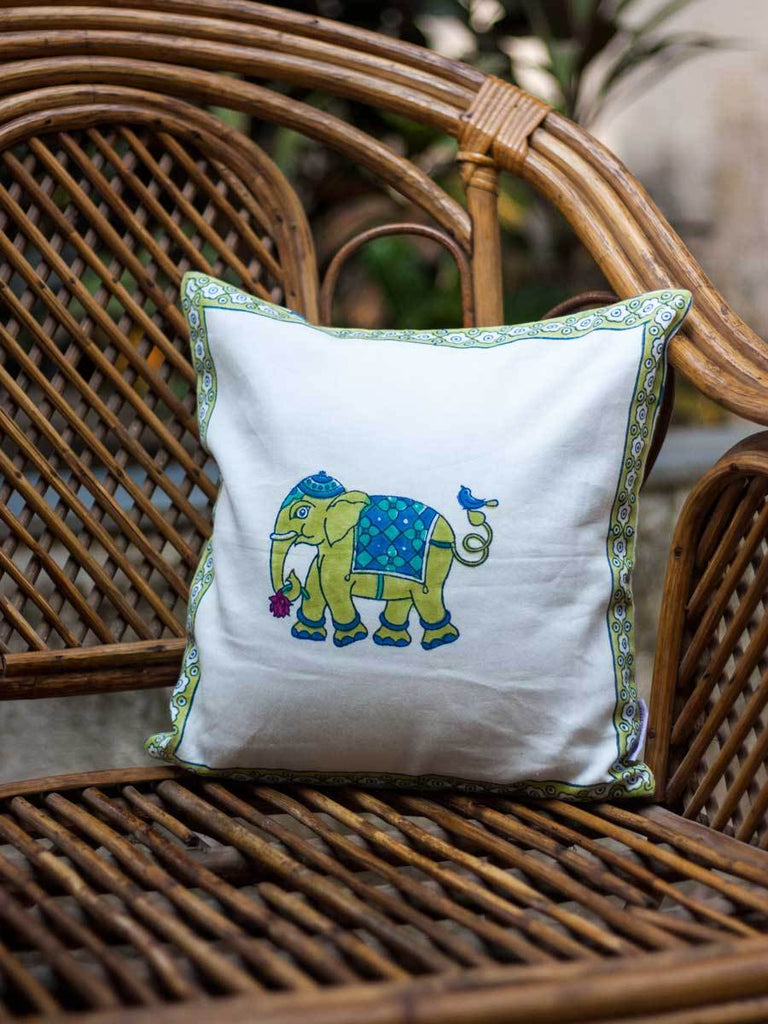 Haathi Hand Block Print Cotton Cushion Cover - 12 Inch - Pinklay