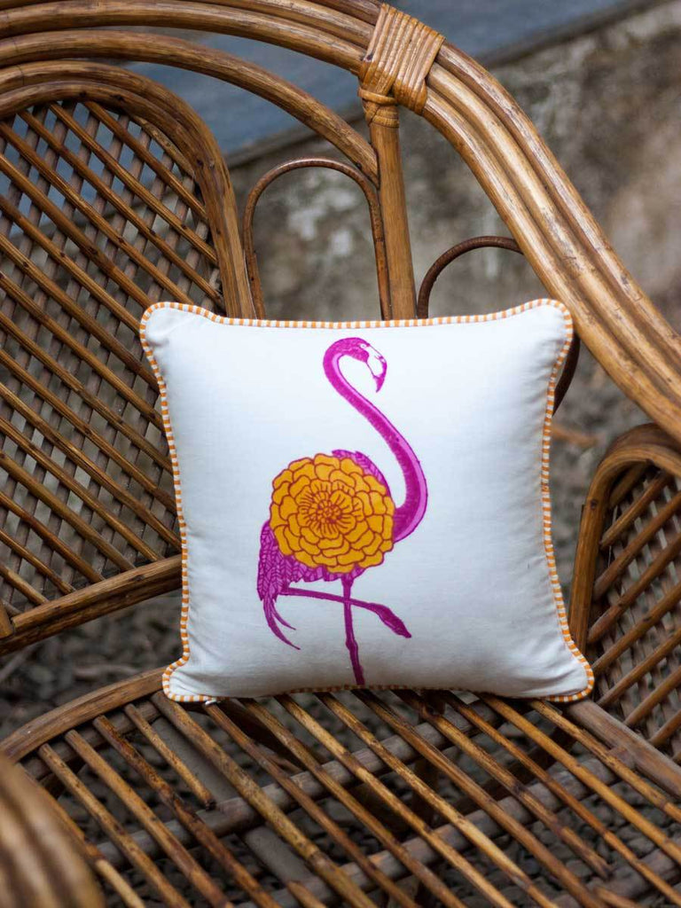 Flamingo Hand Block Print Cotton Cushion Cover - 12 Inch - Pinklay