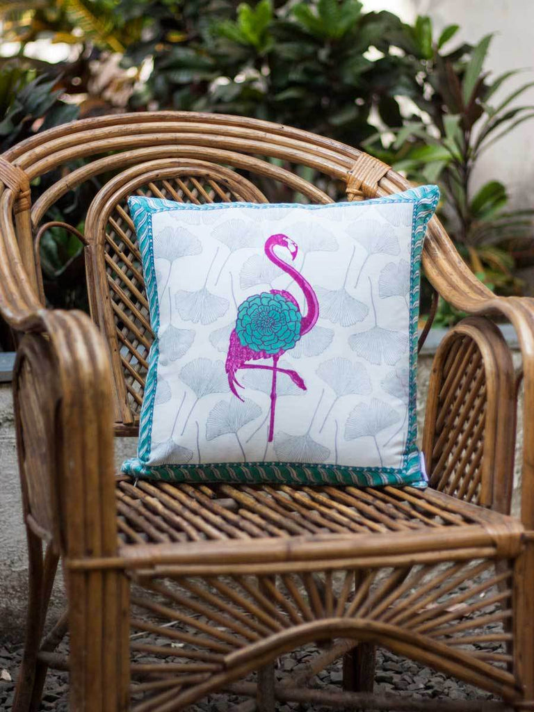 Flamingo Hand Block Print Cotton Cushion Cover - 16 Inch - Pinklay