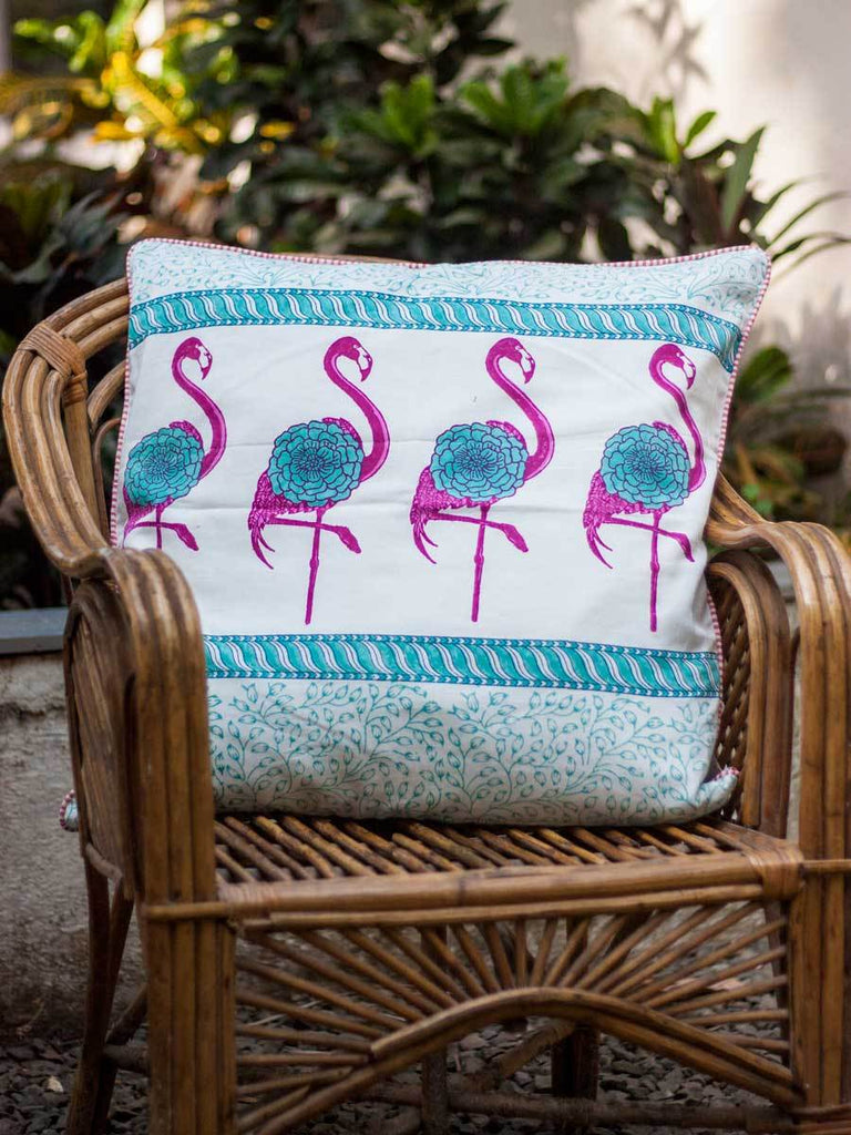 Flamingo Hand Block Print Cotton Cushion Cover - 24 Inch - Pinklay