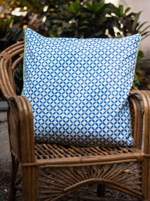 Travellers Palm Hand Block Print Cotton Cushion Cover - 24 Inch - Pinklay