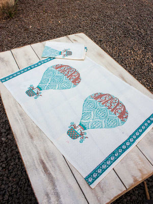 Balloon Hand Block Print Cotton Hand Towels - Set of 2
