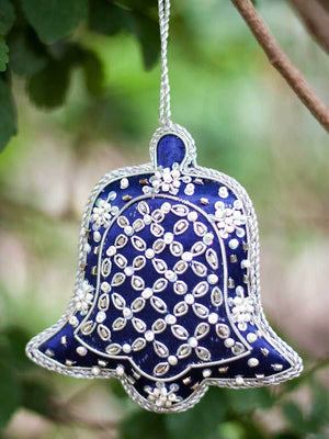Blue Bell Handmade Zardosi Festive Charm / Ornament - Set of 2 (Large) - Pinklay