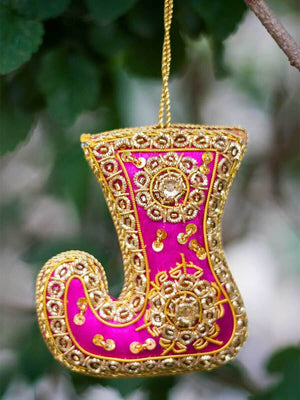 Magical Shoe Handmade Zardosi Festive Charm / Ornament (Large) - Pinklay
