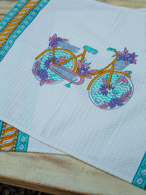 Heavenly Ride Hand Block Print Cotton Hand Towels - Pinklay