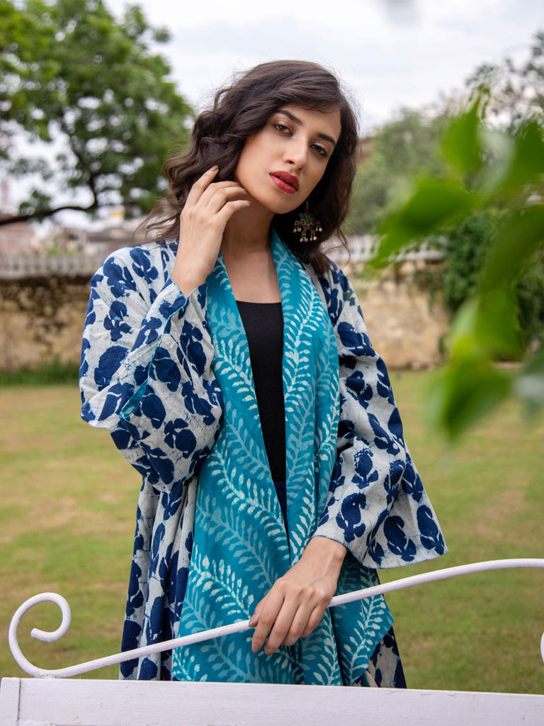 Turquoise Bloom Dabu Print Waterfall Reversible Coat - Pinklay