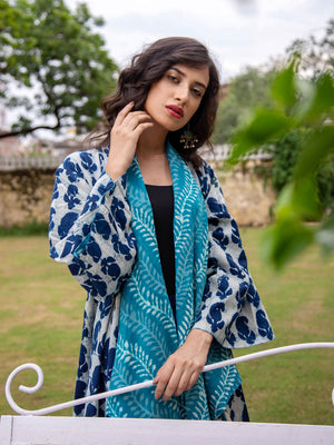Turquoise Bloom Dabu Print Reversible Shrug