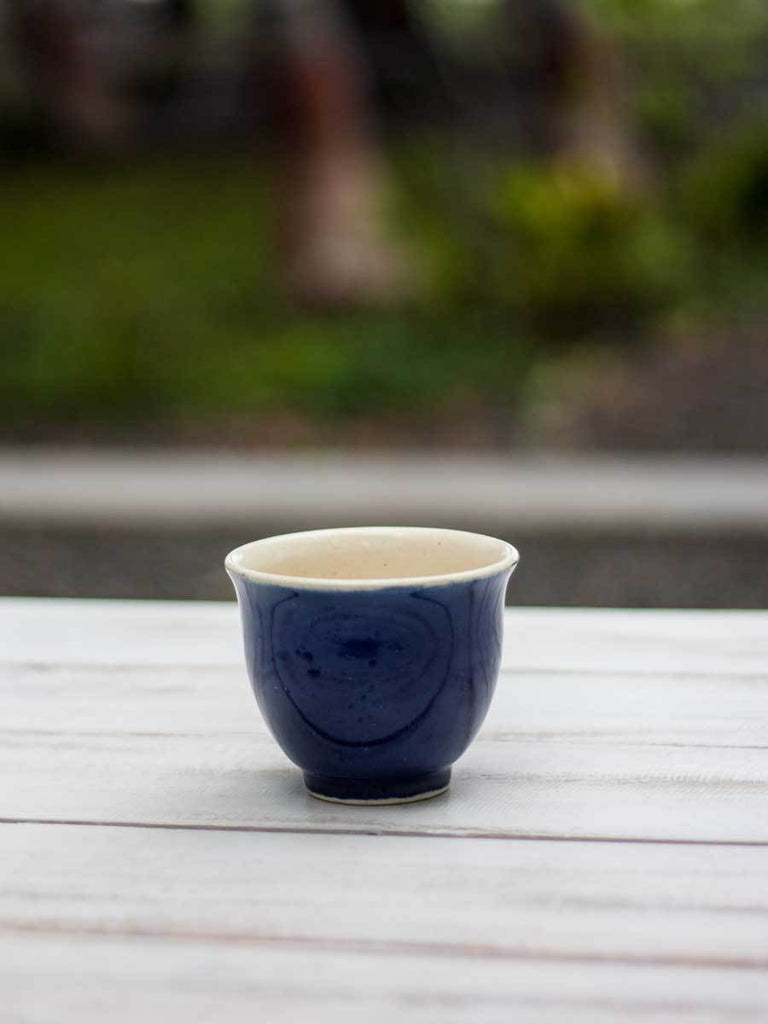 Indigo Hand-Thrown Ceramic Tea / Soup Bowl - Pinklay
