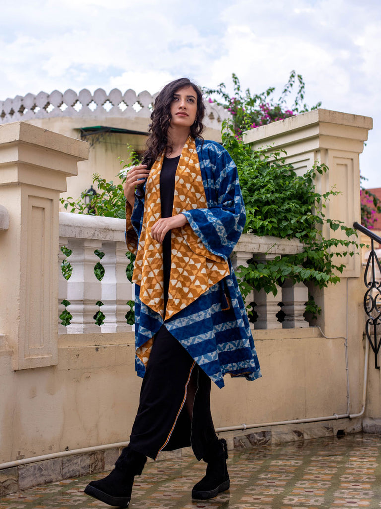 Indigo Mustard Dabu Print Waterfall Reversible Coat - Pinklay