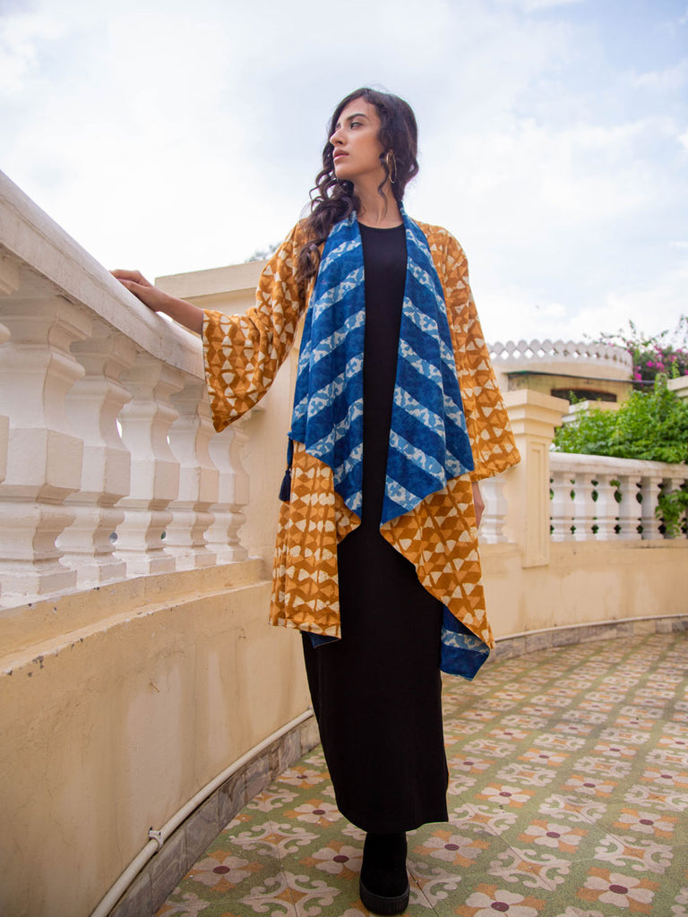 Indigo Mustard Dabu Print Waterfall Reversible Coat