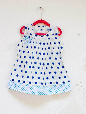 Indigo Polka Pin-Tuck Layered Frock with a Bow - Pinklay
