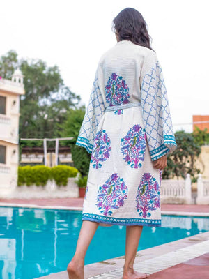 Jaipur Hand Block Print Cotton Bath Robe - Pinklay