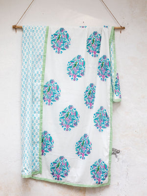 Jaipur Cotton Muslin Dohar, Hand Block Print Summer Blanket - Pinklay