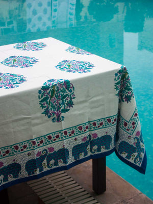 Jaipur Hand Block Print Cotton Table Cover - Pinklay