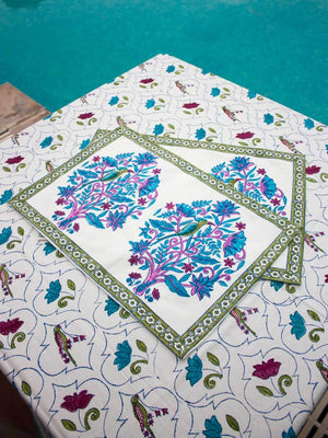 Jaipur Hand Block Print Cotton Table Mats - Set of 6 - Pinklay