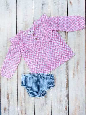 Pink Floral Organic Cotton Bloomer Set - Pinklay