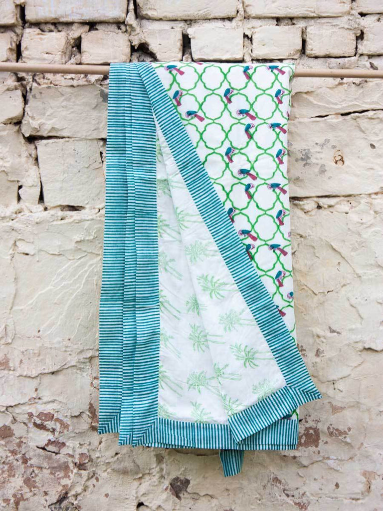 Jharokha Cotton Muslin Dohar, Hand Block Print Summer Blanket - Pinklay