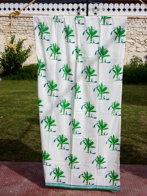 Kadali Hand Block Print Cotton Curtain with Border & Concealed Loops - Pinklay