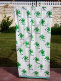 Kadali Hand Block Print Cotton Curtain with Border & Concealed Loops Curtains