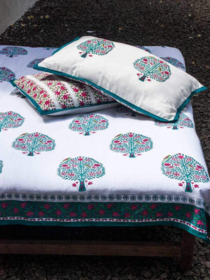 Tree of Life Handblock Print Cotton Double Bed Sheet Set With 2 Pillow Covers - Pinklay