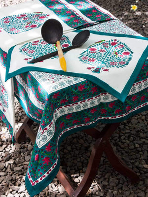 Kalpavriksha Hand Block Print Cotton Table Cover - Pinklay
