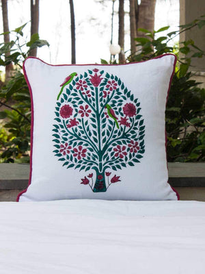 Kalpavriksha Hand Block Print Double Side Printed Cotton Cushion Cover - 12 Inch - Pinklay