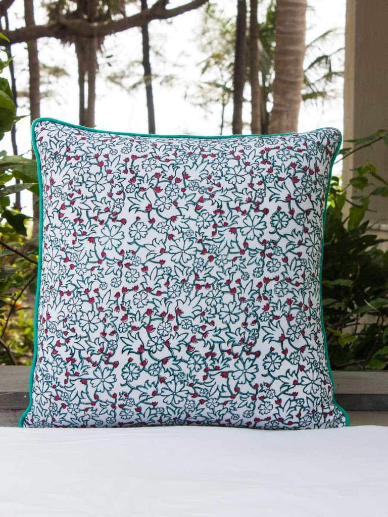Kalpavriksha Hand Block Print Double Side Printed Cotton Cushion Cover - 16 Inch - Pinklay