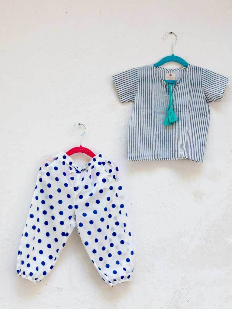 Blue Polka Organic Cotton Comfort Pants Kids Clothing