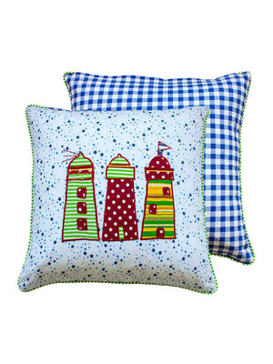 Lighthouse Applique Cotton Cushion Cover - 16 Inch - Pinklay