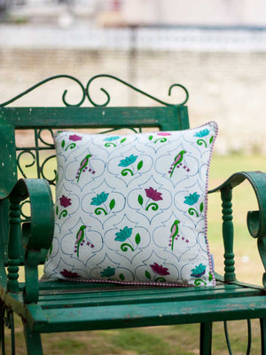 Lotus Jaal Hand Block Print Cotton Cushion Cover - 16 Inch - Pinklay