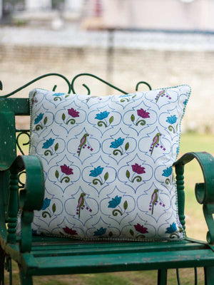 Lotus Jaal Hand Block Print Cotton Cushion Cover - 20 Inch