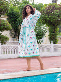 Lotus Jaal Hand Block Print Cotton Bath Robe - Pinklay