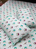 Lotus Jaal Hand Block Print Cotton Bed Sheet Set With Complementing Pillow Covers - Pinklay